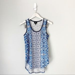 Mossimo blue patterned burnout tank top